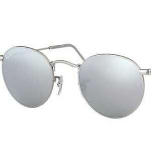Ray Ban Round Sunglasses Silver Metal Mirrored Len